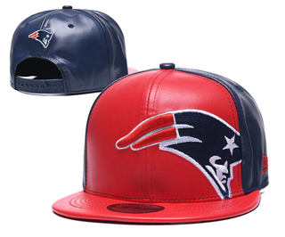 2020 New England Patriots Team Logo Leather Stitched Snapback Adjustable Hat GS 2