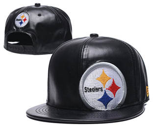 2020 Pittsburgh Steelers Team Logo Leather Stitched Snapback Adjustable Hat GS 1