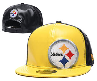 2020 Pittsburgh Steelers Team Logo Leather Stitched Snapback Adjustable Hat GS 2