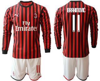 AC Milan #11 Brahimovic Home Long Sleeves Soccer Club Jersey