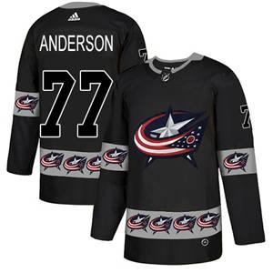 Blue Jackets #77 Josh Anderson Black  Team Logo Fashion Stitched Hockey Jersey