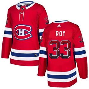 Canadiens #33 Patrick Roy Red Home  Drift Fashion Stitched Hockey Jersey