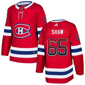 Canadiens #65 Andrew Shaw Red Home  Drift Fashion Stitched Hockey Jersey