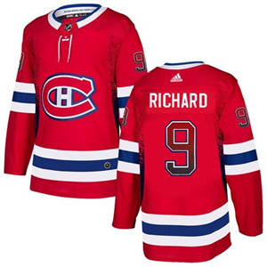 Canadiens #9 Maurice Richard Red Home  Drift Fashion Stitched Hockey Jersey