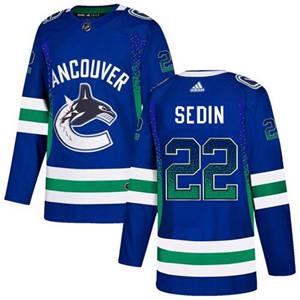Canucks #22 Daniel Sedin Blue Home  Drift Fashion Stitched Hockey Jersey