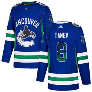 Canucks #8 Christopher Tanev Blue Home  Drift Fashion Stitched Hockey Jersey