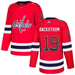 Capitals #19 Nicklas Backstrom Red Home  Drift Fashion Stitched Hockey Jersey