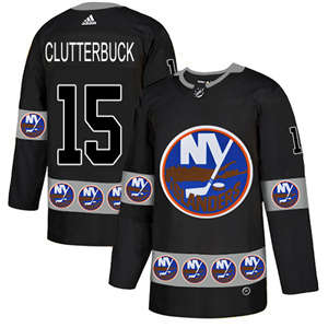 Islanders #15 Cal Clutterbuck Black  Team Logo Fashion Stitched Hockey Jersey