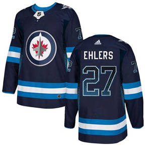 Jets #27 Nikolaj Ehlers Navy Blue Home  Drift Fashion Stitched Hockey Jersey