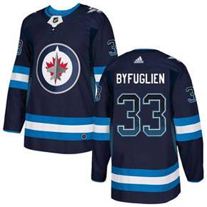 Jets #33 Dustin Byfuglien Navy Blue Home  Drift Fashion Stitched Hockey Jersey