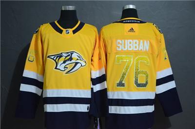 Nashville Predators #76 P.K. Subban Yellow Drift Fashion Men's Stitched Hockey Hockey Jersey