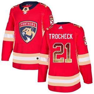 Panthers #21 Vincent Trocheck Red Home  Drift Fashion Stitched Hockey Jersey