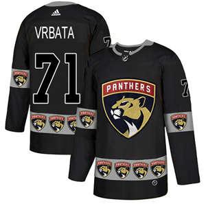 Panthers #71 Radim Vrbata Black  Team Logo Fashion Stitched Hockey Jersey