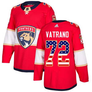 Panthers #72 Frank Vatrano Red Home  USA Flag Stitched Hockey Jersey