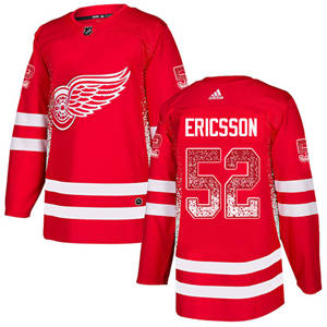 Red Wings #52 Jonathan Ericsson Red Home  Drift Fashion Stitched Hockey Jersey