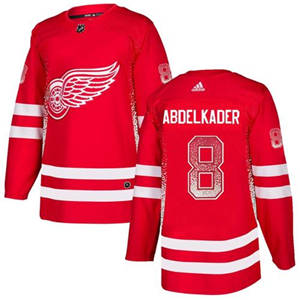 Red Wings #8 Justin Abdelkader Red Home  Drift Fashion Stitched Hockey Jersey