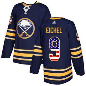 Sabres #9 Jack Eichel Navy Blue Home  USA Flag Stitched Hockey Jersey