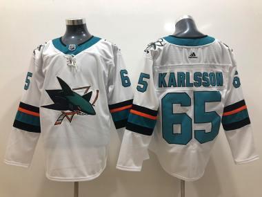 San Jose Sharks #65 Erik Karlsson White Stitched Hockey Jersey
