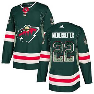 Wild #22 Nino Niederreiter Green Home  Drift Fashion Stitched Hockey Jersey