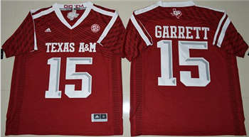 Aggies #15 Myles Garrett Red New SEC Patch Stitched NCAA Jersey