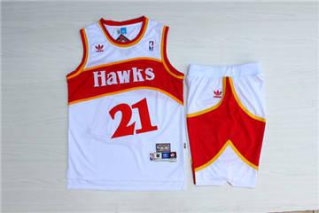 Atlanta Hawks #21 Dominique Wilkins White Hardwood Classics Jersey(With Shorts)