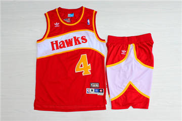 Atlanta Hawks #4 Spud Webb Red Hardwood Classics Jersey(With Shorts)