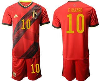 Belgium #10 E.Hazard Red Home Soccer Country Jersey