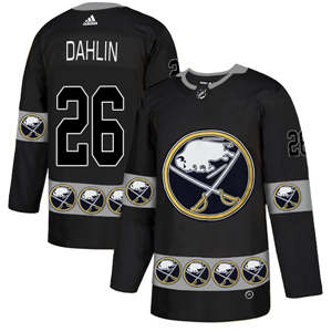 Buffalo Sabres #26 Rasmus Dahlin Black Team Logos Fashion  Jersey