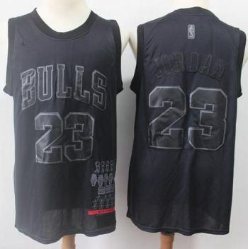 Bulls #23 Michael Jordan Black Basketball MVP Swingman Jersey