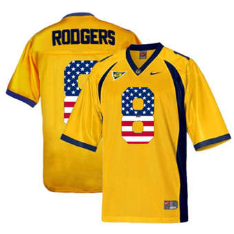 California Golden Bears 8 Aaron Rodgers Gold USA Flag College Football Jersey