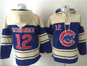 Chicago Cubs #12 Kyle Schwarber Blue Sawyer Hooded Sweatshirt Baseball Hoodie