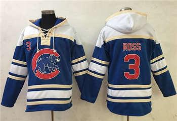Chicago Cubs #3 David Ross Blue Sawyer Hooded Sweatshirt Baseball Hoodie