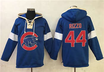 Chicago Cubs #44 Anthony Rizzo Blue Pullover Baseball Hoodie