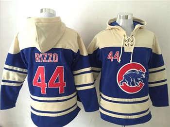 Chicago Cubs #44 Anthony Rizzo Blue Sawyer Hooded Sweatshirt Baseball Hoodie