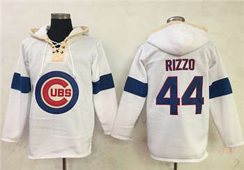 Chicago Cubs #44 Anthony Rizzo White Pullover Baseball Hoodie