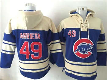 Chicago Cubs #49 Jake Arrieta Blue Sawyer Hooded Sweatshirt Baseball Hoodie
