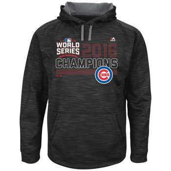 Chicago Cubs 2016 World Series Champions Fierce Streak Fleece Men's Black Pullover Hoodie