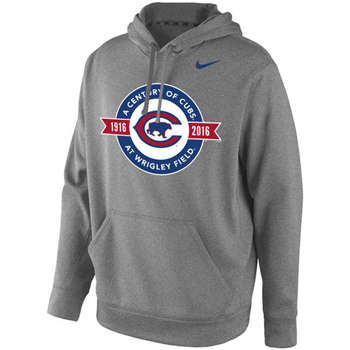 Chicago Cubs Men's Grey A Century of Cubs at Wrigley Patch Pullover Hoodie