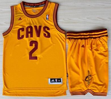 Cleveland Cavaliers 2 Kyrie Irving Yellow Revolution 30 Swingman Jerseys Shorts Basketball Suits