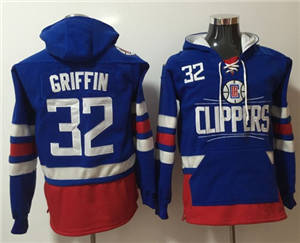 Clippers #32 Blake Griffin Blue Name & Number Pullover Basketball Hoodie