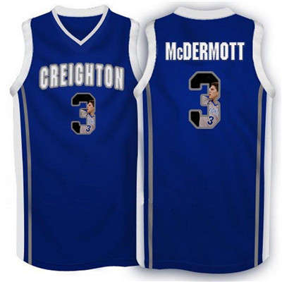 Creighton Bluejays 3 Doug McDermott Navy With Portrait Print College Basketball Jersey