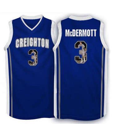 Creighton Bluejays 3 Doug McDermott Navy With Portrait Print College Basketball Jersey2