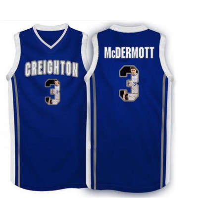 Creighton Bluejays 3 Doug McDermott Navy With Portrait Print College Basketball Jersey3