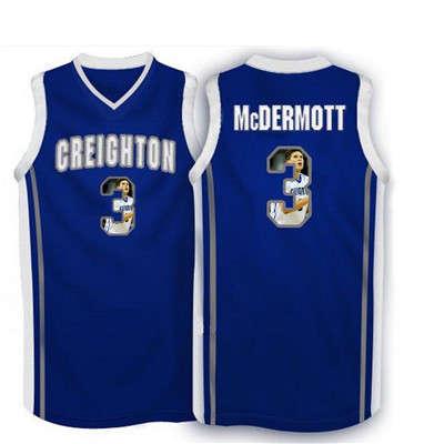 Creighton Bluejays 3 Doug McDermott Navy With Portrait Print College Basketball Jersey4