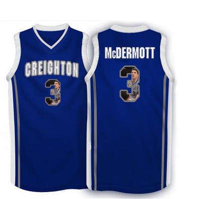 Creighton Bluejays 3 Doug McDermott Navy With Portrait Print College Basketball Jersey5