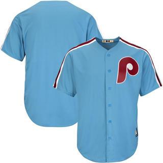 Custom Philadelphia Phillies Light Blue Cooperstown Cool base Jersey