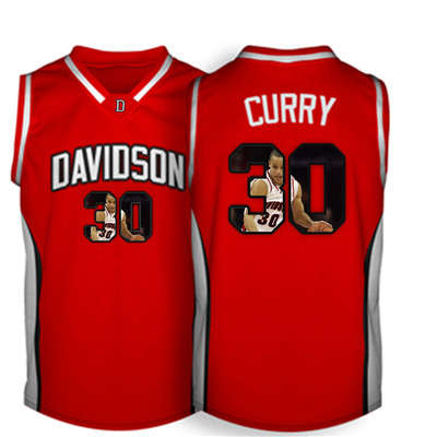Davidson Wildcat 30 Stephen Curry Red With Portrait Print College Basketball Jersey