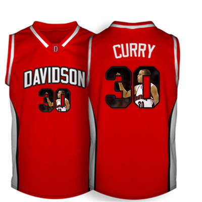 Davidson Wildcat 30 Stephen Curry Red With Portrait Print College Basketball Jersey2