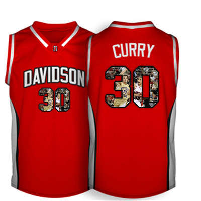 Davidson Wildcat 30 Stephen Curry Red With Portrait Print College Basketball Jersey3