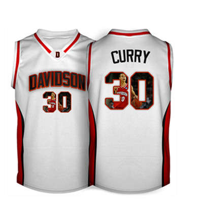 Davidson Wildcat 30 Stephen Curry White With Portrait Print College Basketball Jersey